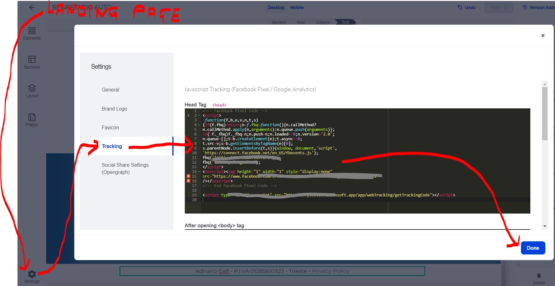 pixel landing page di Infusionsoft by Keap